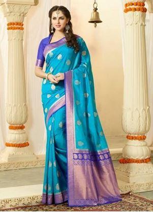 Picture of Original Indan Spun Silk Saree Light Blue