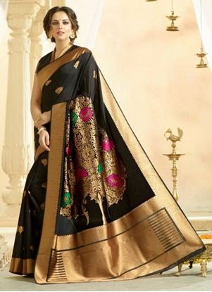 Picture of Original Indan Spun Silk Saree Black