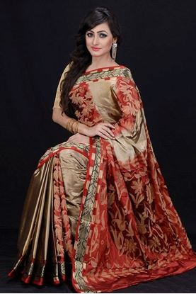 Picture of HAND-LOOM SOFT SILK KATAAN RED & CREAM