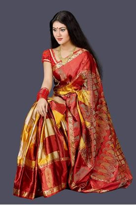 Picture of HAND-LOOM SOFT SILK KATAAN RED