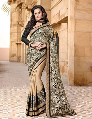 Picture of Original Indian  Satin Print Pallu Saree