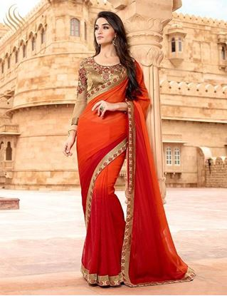 Picture of Original Indian Shaded Chiffon Stripe Saree