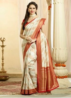 Picture of Original Indan Spun Silk Saree Cream