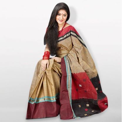 Picture of  Burly Wood Cotton Traditional Saree