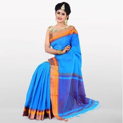 Picture of  Sky Blue and Golden Cotton Saree