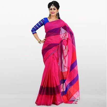 Picture of  Deep Pink and Navy Blue Cottonl Saree