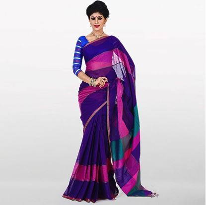 Picture of Navy Blue and Pink Cotton Saree