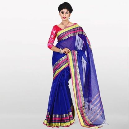 Picture of  Navy Blue Cotton Saree For Women