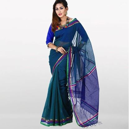 Picture of  Teal Cotton Traditional Saree For Women