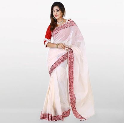 Picture of  White and Red Cotton Saree For Women