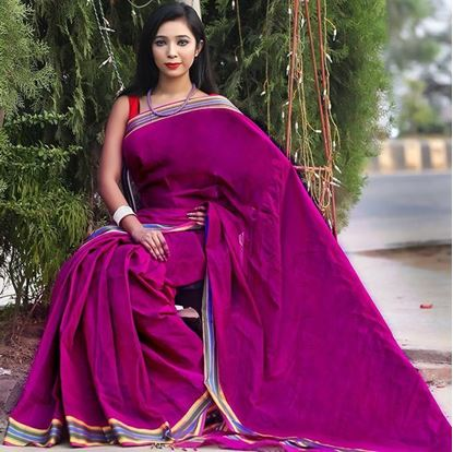 Picture of  Purple Cotton Traditional Saree For Women