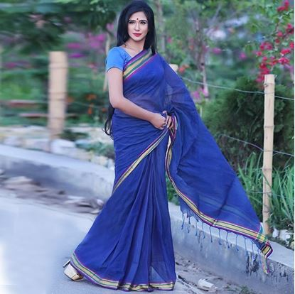 Picture of  Blue Cotton Traditional Saree For Women