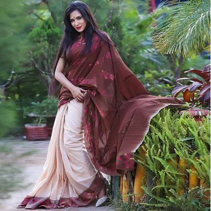 Picture of Cream and Coffee Cotton Traditional Saree For Women