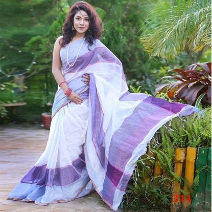Picture of  White and Indigo Cotton  Saree For Women