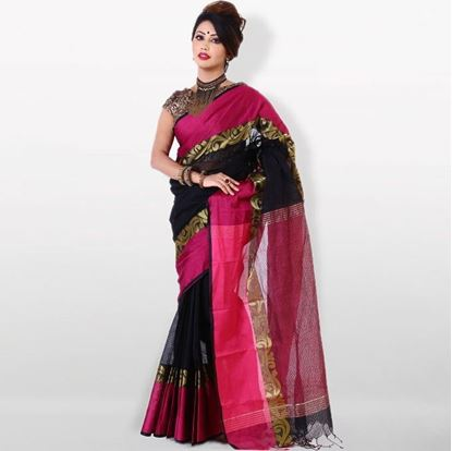 Picture of  Pink and Black Cotton  Saree For Women