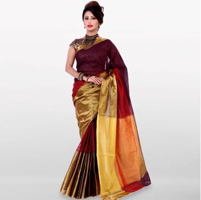 Picture of  Maroon and Golden Cotton Saree