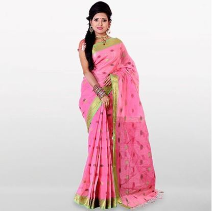 Picture of Light Pink Cotton Saree For Women