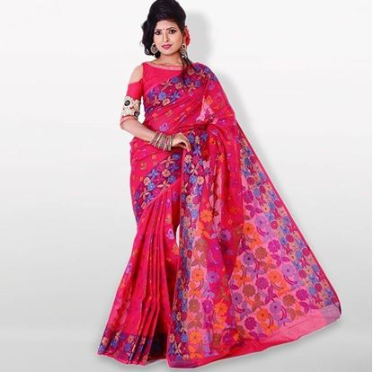 Picture of  Deep Pink Cotton Saree For Women