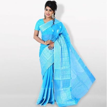 Picture of  Aqua Cotton Traditional Saree For Women