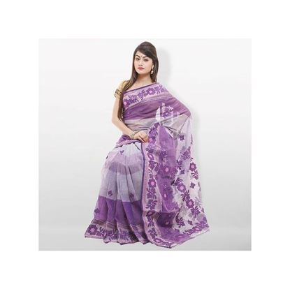 Picture of  Violet Pure Cotton With Hand Embroidery Saree