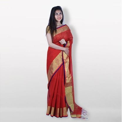Picture of  Red And Golden Cotton Saree For Women