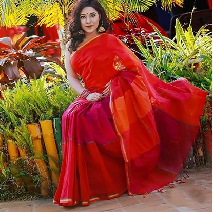 Picture of  Red and Magenta Cotton Saree For Women