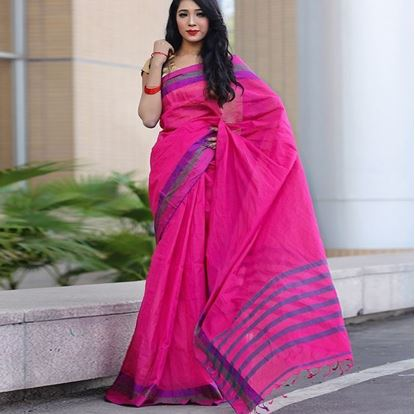 Picture of  Deep Pink and Blue Cotton Saree For Wome