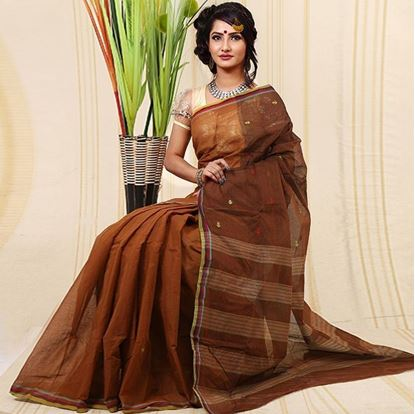 Picture of Saddle Brown Cotton Traditional Saree For Women