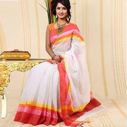 Picture of  White and Orange Cotton Saree For Women
