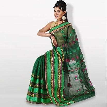 Picture of Dark Green and Golden Cotton Saree