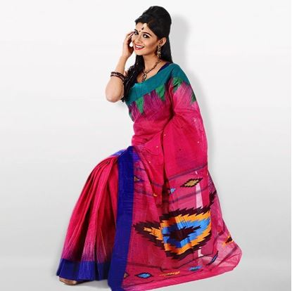 Picture of  Deep Pink and Navy Blue Cotton Saree