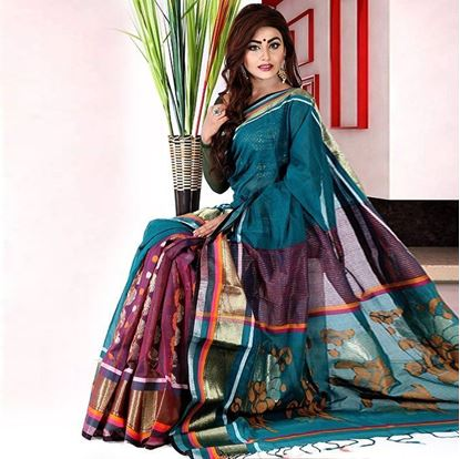 Picture of  Teal and Maroon Cotton Saree For Women