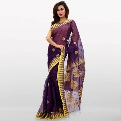 Picture of Purple and Yellow Cotton  Saree For Women