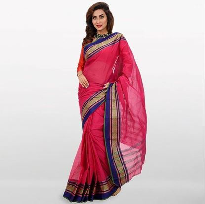 Picture of Pink and Blue Cotton Saree For Women