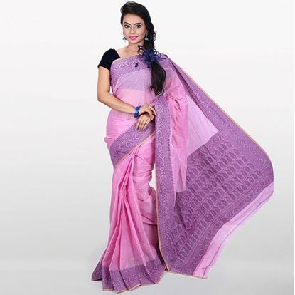 Picture of Pink and Violet Cotton Saree For Women