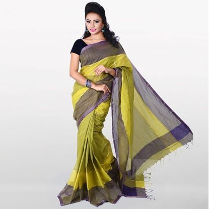 Picture of Olive and Gray Cotton Traditional Saree