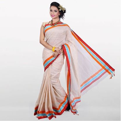 Picture of Off White Cotton Traditional Saree