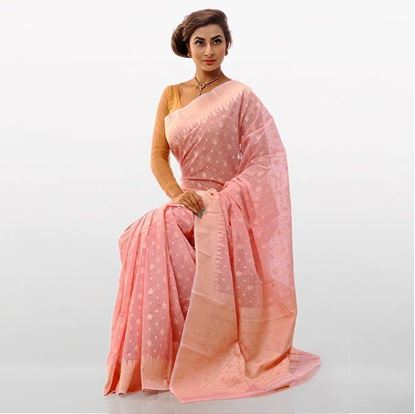 Picture of Deep Pink Cotton Traditional Saree