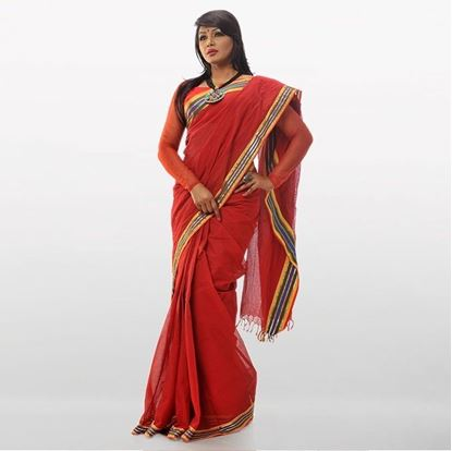 Picture of  Red Cotton Traditional Saree