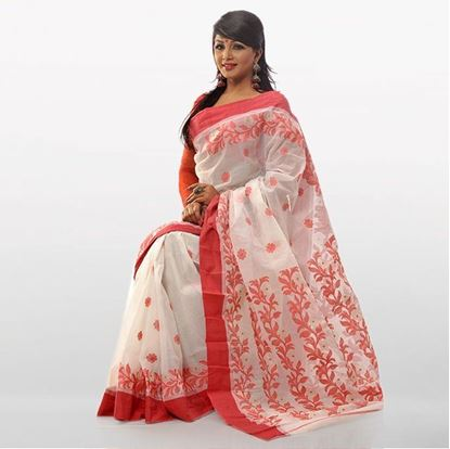 Picture of  White and Orange Cotton Traditional Saree