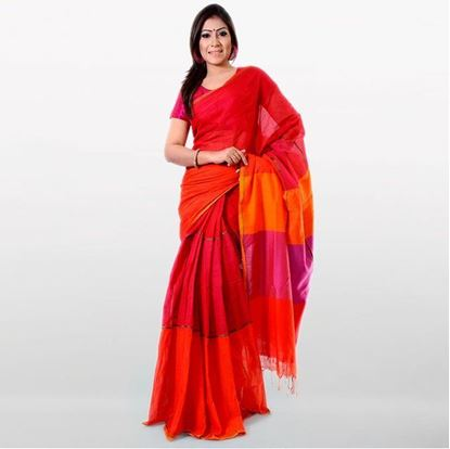 Picture of  Red and Orange Cotton Traditional Saree