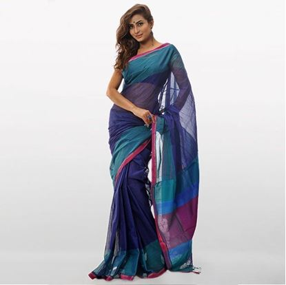 Picture of  Navy Blue Cotton Traditional Saree