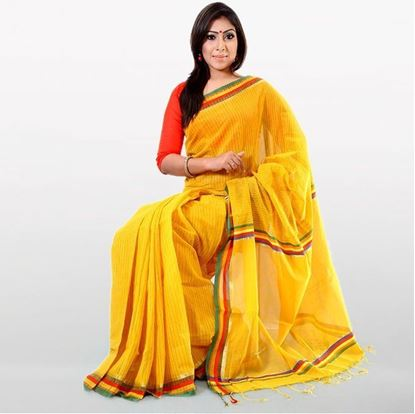 Picture of Yellow Cotton Traditional Saree