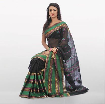 Picture of  Black and Green Cotton Traditional Saree