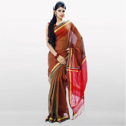 Picture of  Sienna and Red Cotton Traditional Saree