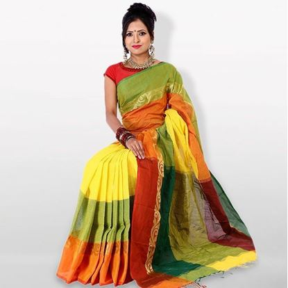 Picture of  Yellow and Orange Cotton Traditional Saree