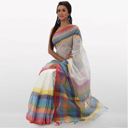 Picture of  White Cotton Traditional Saree