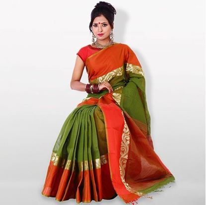 Picture of  Green and Orange Cotton Traditional Saree