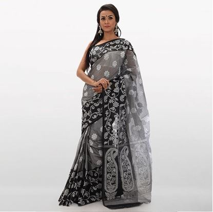 Picture of  Gray and Black Cotton Traditional Saree