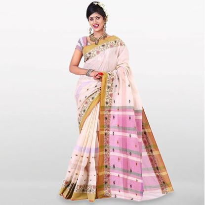 Picture of  White and Pink Cotton Traditional Saree